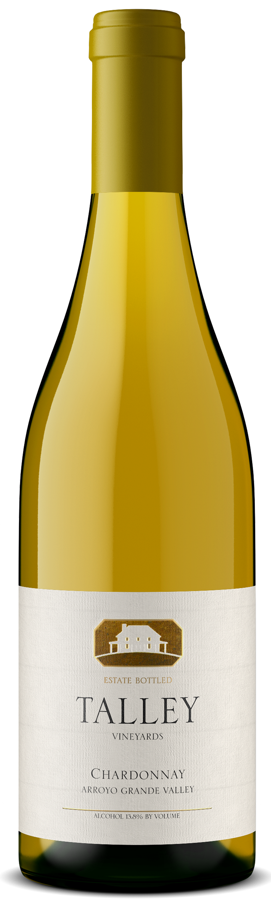A bottle of Estate Chardonnay by Talley Vineyards.