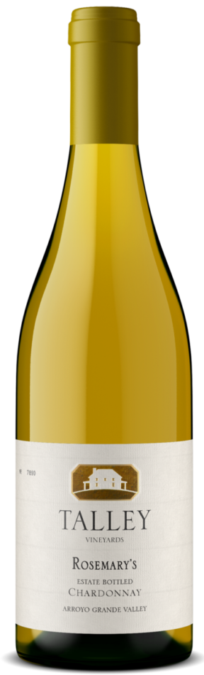 A bottle of Rosemary's Chardonnay by Talley Vineyards.