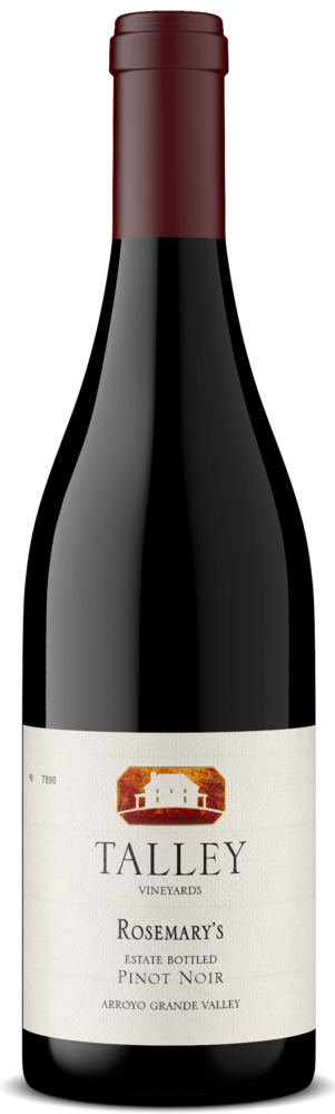 A bottle of Rosemary's Pinot Noir by Talley Vineyards.