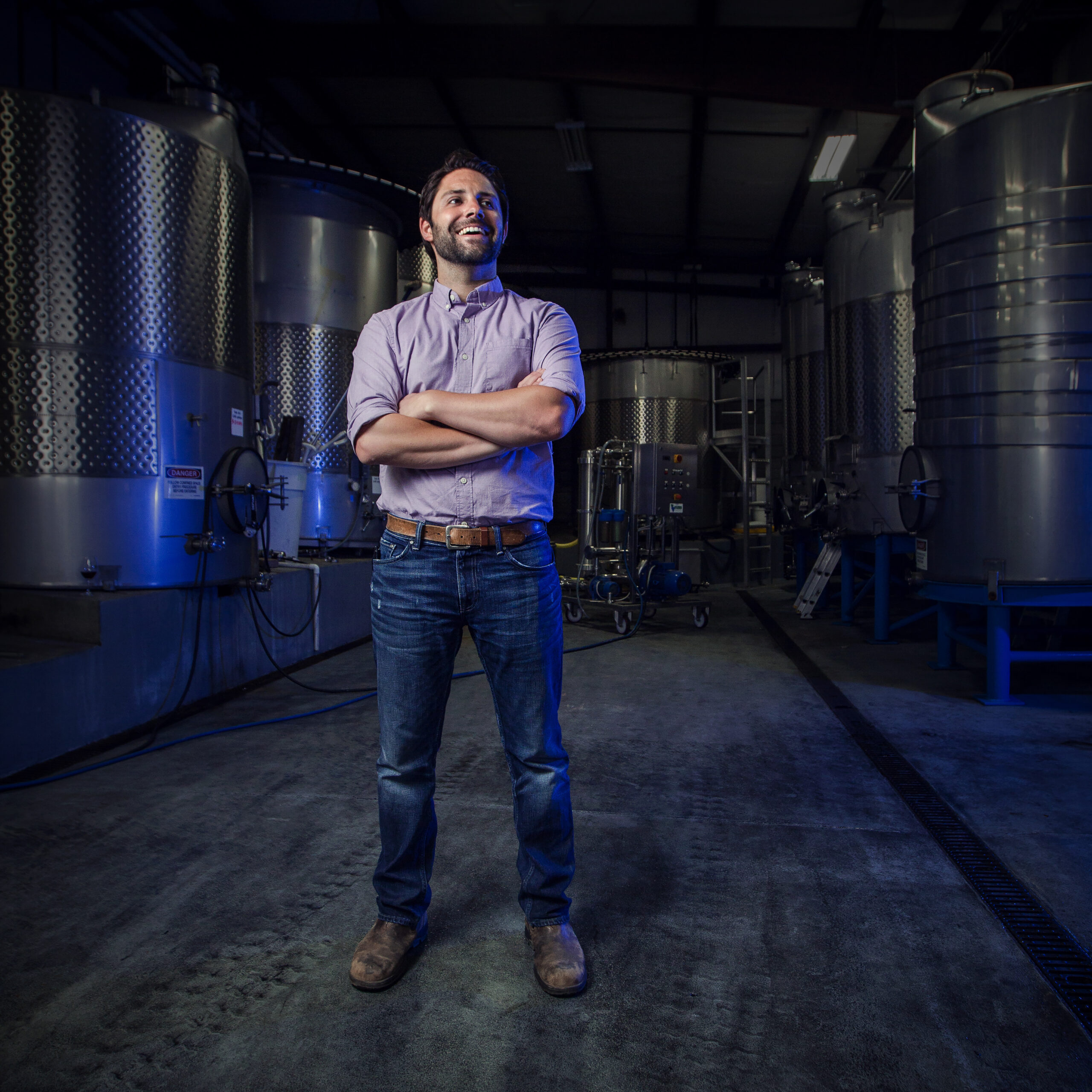 Winemaker Eric Johnson stands in the winery after being names head winemaker of Talley Vineyards.