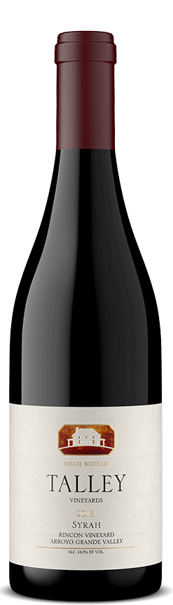 A bottle of Talley Vineyards 2018 Syrah